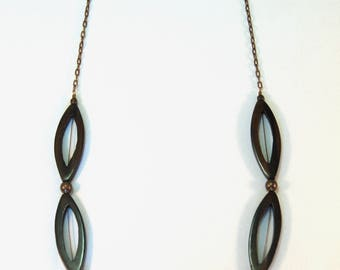 Ebony wood dramatic Philippines beads natural brass necklace by CURRICULUM