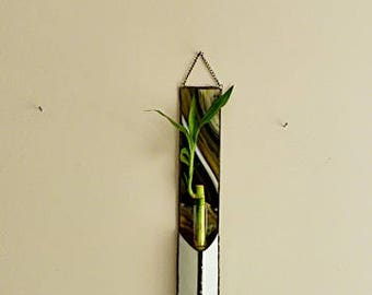 Stained Glass Panel, Lucky Bamboo Plant, Wall Hanging Planter, Oliver Green, Multi Colored