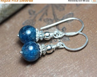 SALE Apatite Earrings Blue Gemstone Earrings Sterling Silver Earrings Blue Earrings Rustic Jewelry