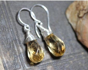 SALE Citrine Earrings Sterling Silver Gemstone Earrings Wire Wrapped Yellow Faceted Briolette Earrings