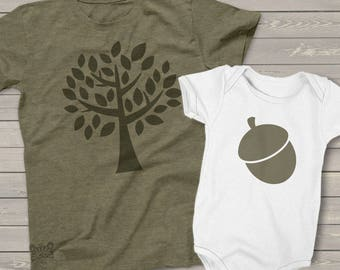 matching dad and baby The acorn doesn't fall far from the tree daddy and baby gift set - great Father's Day gift  MDF1-018-2