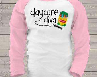 Back to school shirt - girl daycare diva kids raglan shirt  mscl-095-r
