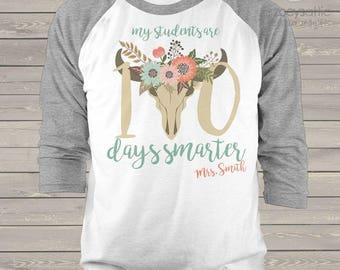 Teacher shirt - 100 Days Smarter cow head unisex adult raglan shirt for teachers   mscl-110-r
