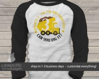 Dump truck birthday shirt - birthday boy personalized any age can you dig it dump truck raglan Tshirt MBD-042-r