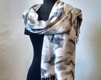 Gray and White Pashmina Wrap With Fringe, Pashmina/Silk, Abstract Wrap, Large Scarf, Handpainted Wrap, 22x68 inches, Unisex, LIMITED EDITION