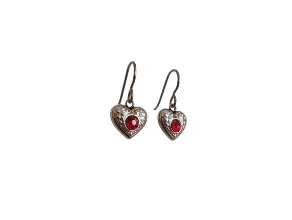 Red rhinestone heart dangle earrings - Hypoallergenic pure titanium and stainless steel