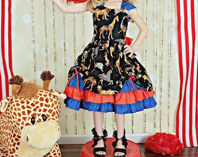 Ringmaster Costume - Circus Birthday Party Outfit - Carousel Party - Ruffle Dress - Girls Clothes - Birthday Dress - Toddler Girl - 6m-8y