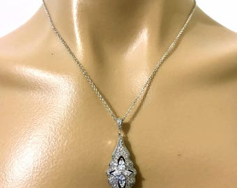Cz Bridal Necklace, Victorian Necklace, Vintage Wedding Necklace, Cubic Zirconia Wedding Jewelry, Silver Necklace, Gift for Her, ARIEL
