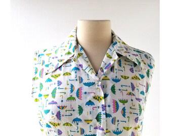 Umbrella Print Blouse | Sleeveless Blouse | 1970s Top | Medium M