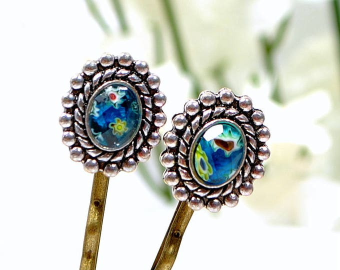 Blue Bobby Pins Blue Hair Beads Beaded Bobbies