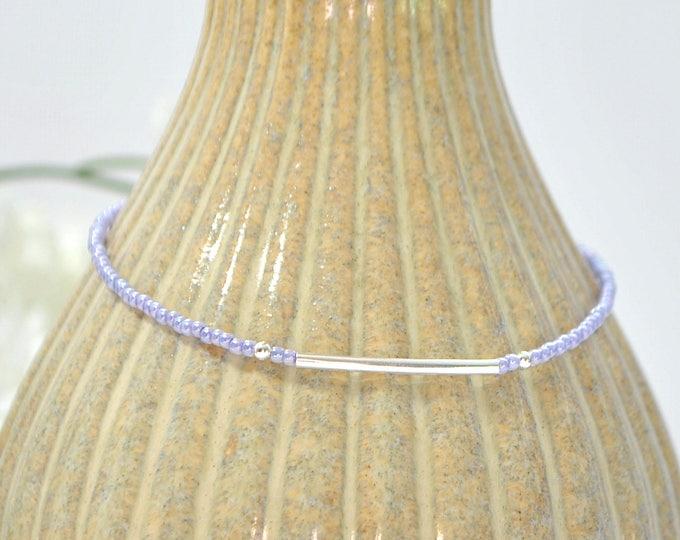 Bar Ankle Bracelet Lavender Anklet Purple Silver Anklet Adjustable