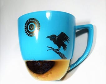Raven Mug Turquoise Ceramic Crow Coffee Cup Golden Sun