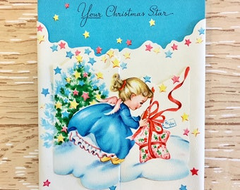 Darling Vintage Christmas Card with Angel 1940s-1950s, NOS, 3D pop-up style