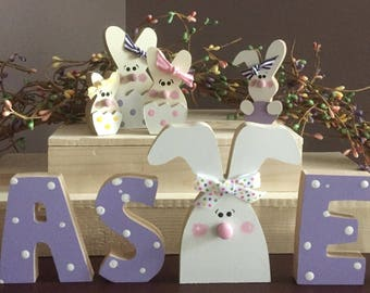 """MINI, Easter letters & bunnies, 3"""" or less"""