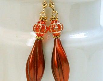Vintage Czech Orange Carnival Glass Bead Dangle Drop Earrings, Vintage German Cinnamon Twist Lucite Beads,Gold Plated French Ear Wires