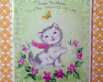 Vintage Stanley Kitten Cat with Flowers and Butterfly Greeting Card