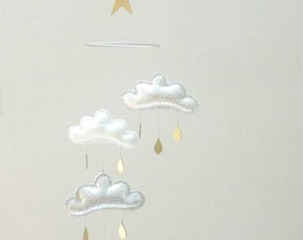 Gold and silver baby cloud mobile,mobile,nursery decor,bebe bio,scandi baby,SCANDINAVIAN BABY,HYGGE,constellation nursery,nursery décor,