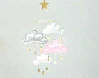 Light pink Baby mobile-Nursery mobile-mobile cloud-baby gift-baby girl-Millennial Pink, blush pink,blush, Tumblr Pink,Scandi Pink-baby star