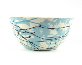 Deep Soup, Stew, and Chili  Bowl in White Blue and Black with Abstract Decoration