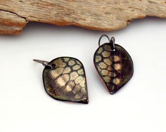 Petite Fall Earrings, Black and Gold Leaves, Art Enamel Dangles, Vitreous Enamels Copper Leaves, Original Gift for Her, Ready to Mail