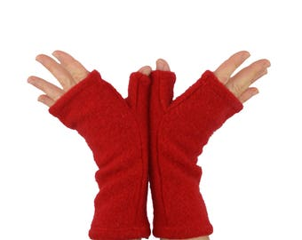 Cashmere Fingerless Gloves in Mistletoe Red - Upcycled Wool Sweater