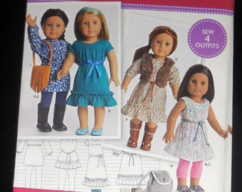 """Simplicity D0541 - Pretty DIY American Girl Boho Outfits- Dress, Purse, Hippie - Easy Sew & Sweet - 18"""" Dolls - UNCUT, NEW - Doll Clothes"""