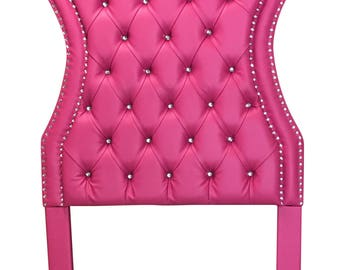 Pink Headboard Tufted Twin Size Upholstered Headboard Pink Bed Headboard for Girls Twin Size headboard Upholstered Girl Bedroom Furniture