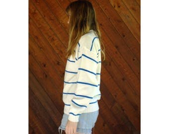 Electric Blue Striped Knit Pullover Sweater - Vintage 90s - S/M