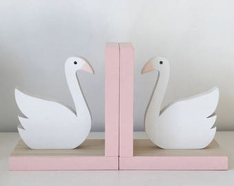Swan Bookends, Swan Baby Nursery, Swan Baby Shower Gift, Pink and White Swan, Baby Girl Nursery, Swan room decor, wooden swan,  eco friendly