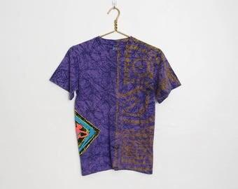 Vintage 1990s Op Ocean Pacific T-shirt / Purple and Black Splatter Print / Unisex 90s Surf Tee
