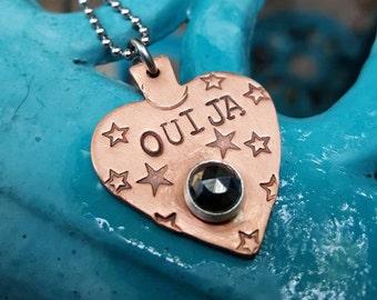 Ouija planchette pendant, Goth pendant, Anniversary gift, Girlfriend gift, Till death keychain, Ouija, bff gift, Ouija board