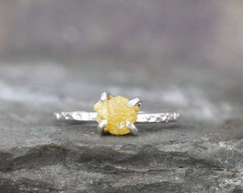 1 Carat Rough Diamond Ring - Yellow Raw Uncut Diamond - Hammered Texture Sterling Silver Gemstone Ring - Engagement Ring - Stacking Ring