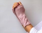 Hand Knit Fingerless Gloves Light Pink Fingerless Mittens Winter Accessories Cable Warm Womens Mittens Gloves Handwarmer
