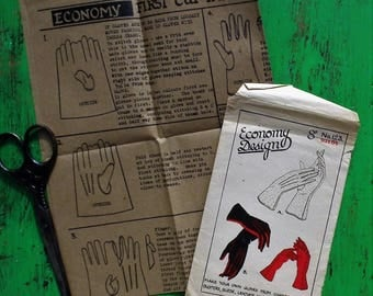 Vintage 1940s Sewing Pattern Economy Design No. 123 UK Women's Gloves Size 6 1/2 UNCUT unused - 40s wartime style - WWII accessories