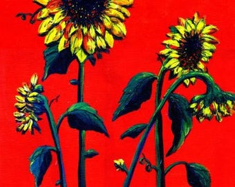 Sunflowers, a print from the original painting by Artist Roseann Madia