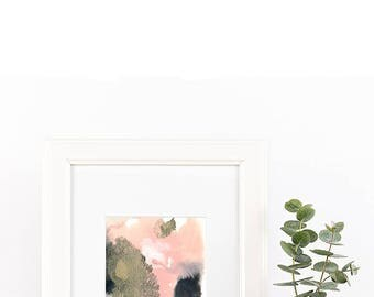 """Small original abstract painting """"Growth"""" by Jules Tillman dusty pink, rose quartz, black, grey, white. Modern home decor. Contemporary art"""