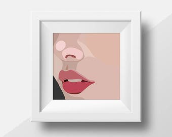 "Abstract, Minimal Portrait ""Up Close"" by Jules Tillman - Fine Art Lustre Print minimal woman abstract portraiture millennial pink close up"