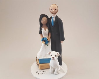Short Bride & Tall Groom with a Dog Personalized Wedding Cake Topper