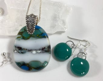 fused glass pendant & earrings, with soft layers of teal green,  blues, and white