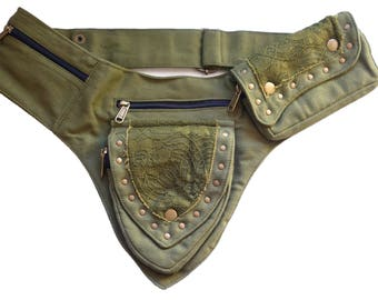 Canvas Utility Belt   Green Lace, 5 pockets   travel, cosplay, festival   Fits iPhone