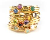 Birthstone Stacking Ring, Gemstone Ring, Mothers Ring