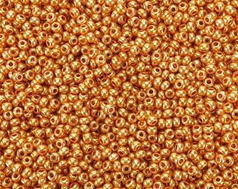 6/0 Metallic Brassy Gold Czech Glass Seed Beads 20 Grams (CS64) SE