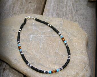 Minimalist Bracelet, Matte Black Bracelet, Tribal Bracelet, Native American Inspired, Bracelet for Men or Women, Small Seed Bead Bracelet,