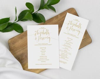elegant gold wedding program, script lettering , formal wedding program, gold and white wedding program, printed programs