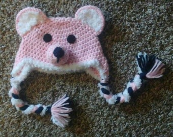 Bear hat crochet pink made to order in any size newborn to adult x large