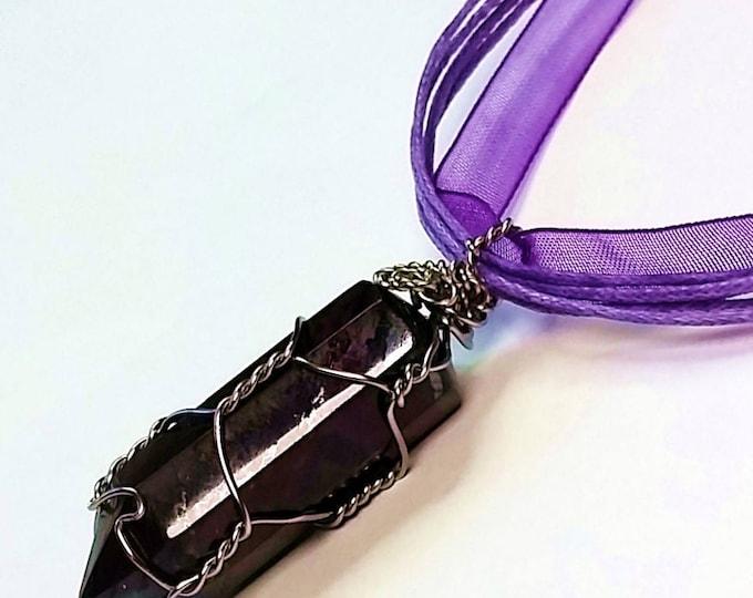 Deep Purple Pendant - Charoite Pendant - Polished Purple Pendants - Pendulum Pendants - Faceted Pendants - Adjustable Length Pendant