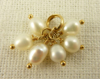 Vintage 14K Gold and Cultured Pearl Bobble Charm