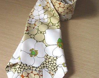 Vintage 60s White and Taupe Floral Patterned Hand Made Tie