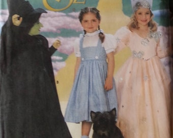 Simplicity Costumes Pattern 7801 Simplicity Girls Wizard of Oz Costumes Pattern Dorothy, Glinda Good Witch,Bad Witch Girls Size 3-8