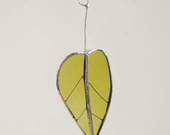 Black Poplar Leaf  - Upcycled Stained Glass Suncatcher